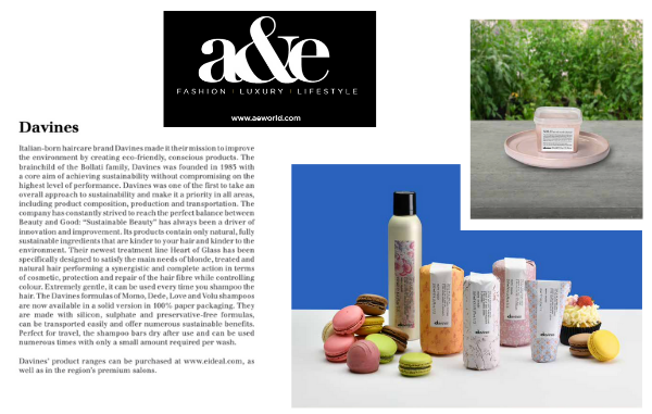 Davines Sustainable Beauty in A&E Magazine