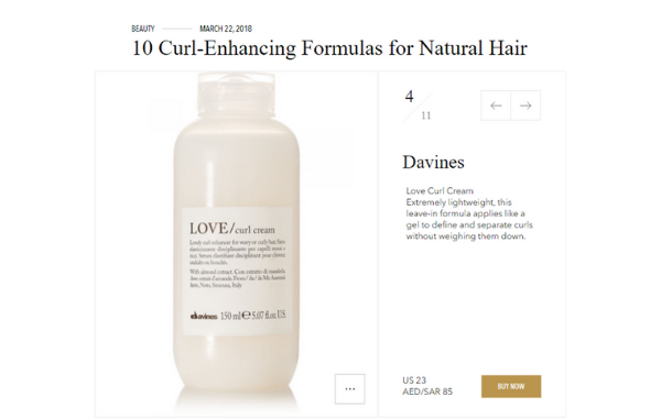 Davines Love Curl, spotted on Vogue