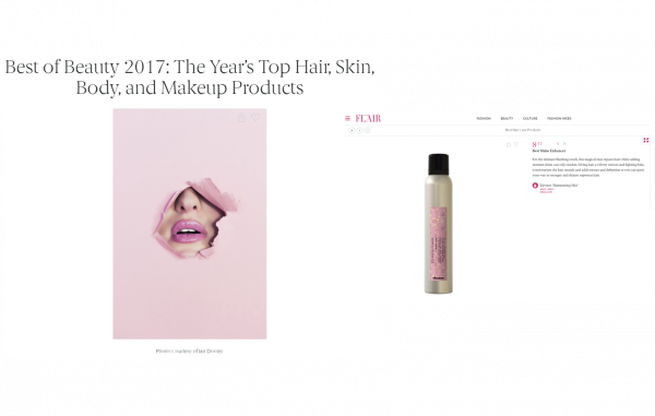 Davines' Shimering Mist listed as one of the Best of Beauty 2017!