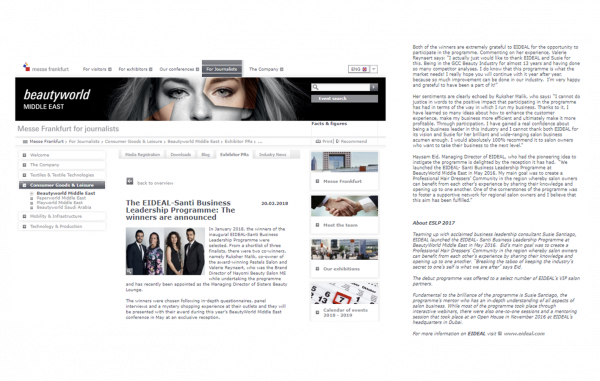 The 2 winners of the ESLP featured on the Beauty World website!