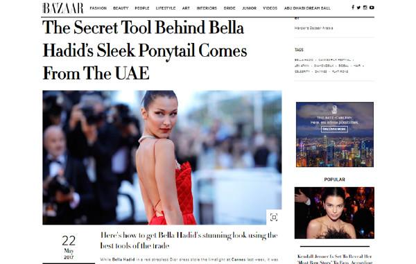 The secret tool behind Bella Hadid's sleek ponytail on Harper Bazaar