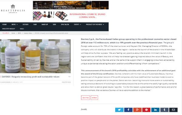 Davines a sustainable beauty brand on Beauty Polis Arabia