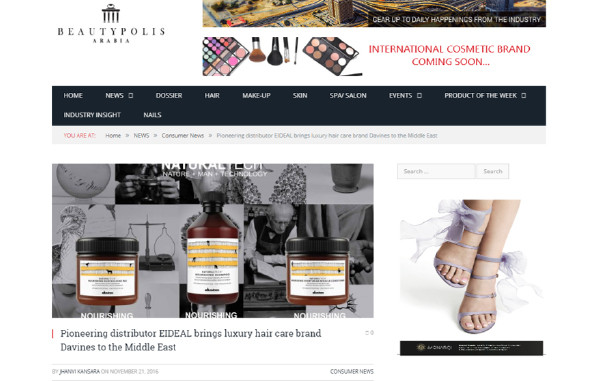 EIDEAL NOW DISTRIBUTING DAVINES IN THE MIDDLE EAST