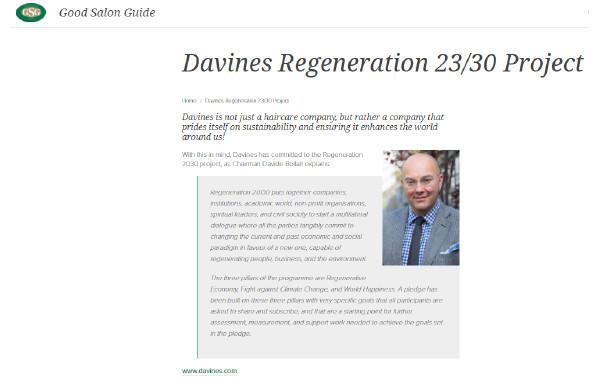 Davines Regeneration 23/30 Project